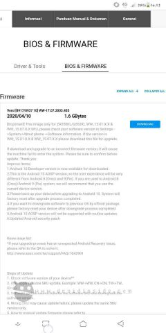 Firmware Asus Zenfone Live L1 Android 10