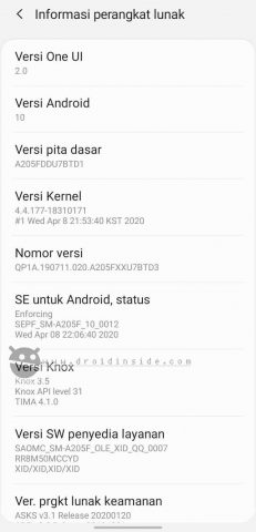 update samsung galaxy a20 ke android 10