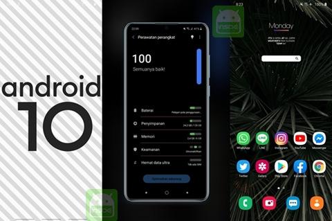 ampilan android 10 galaxy a50