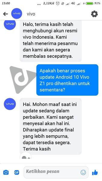 update vivo z1 pro menghilang