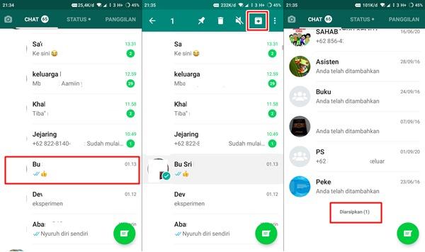 menyembunyikan chat whatsapp dengan arsip