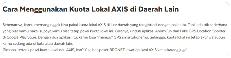 Cara Menggunakan Kuota Lokal AXIS di Daerah Lain