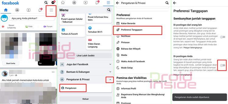 cara menyembunyikan jumlah like facebook